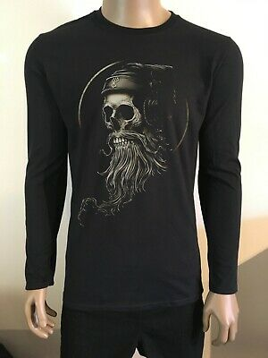 Bearded Skull Long Sleeve T-shirt Goth Rock Dj Headphones • 15.19£