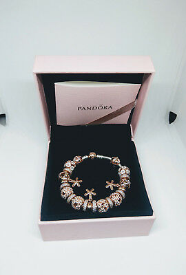 AU1650 • Buy PANDORA Rose MOMENTS Silver Bracelet With Rose Clasp 18cm Including Charms
