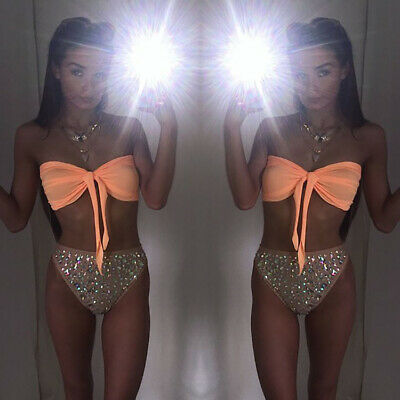 $ CDN21.49 • Buy Women Bikini Swimwear Push Up Bra Swimsuit Triangle Bathing Rhinestone Suits
