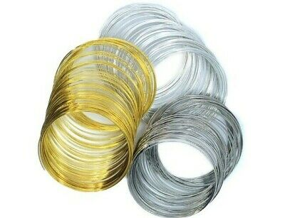 60 COILS MEMORY WIRE 55mm X 0.6mm Or 60mm X 0.6mm SILVER PLATINUM & GOLD COLOUR • 1.90£