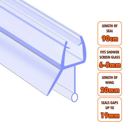 ECOSPA Bath Shower Screen Door Seal Strip • For 6-8mm Glass • Seals Gaps To 19mm • 4.99£