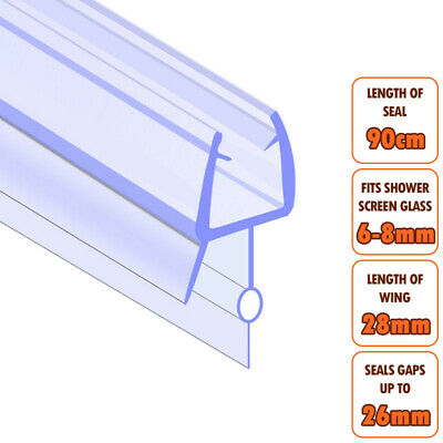 ECOSPA Bath Shower Screen Door Seal Strip • For 6-8mm Glass • Seals Gaps To 26mm • 4.99£