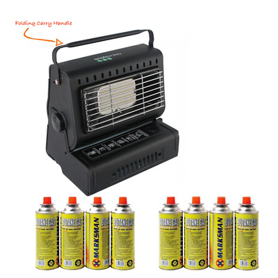 Outdoor Camping Portable Free Standing Fishing Butane Gas Heater + Gas Refills • 24£