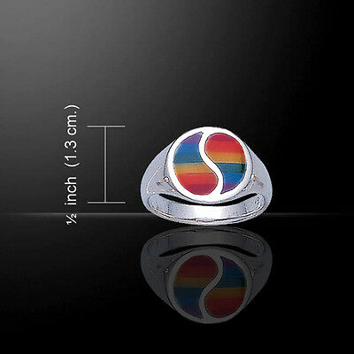 Rainbow Yin Yang Ring .925 Sterling Silver By Peter Stone Jewelry • 37.86£