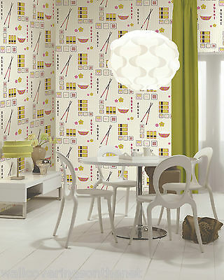 £12.99 • Buy  Unusual & Funky, Japanese / Sushi Themed Wallpaper, Printed On Cushioned Vinyl