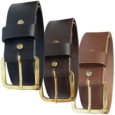 £7.99 • Buy Mens Womens Plain Leather Belt In Black Brown Or Tan Jeans Trousers Gold Buckle