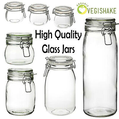 Korken Mason Jar High Quality With Lid Clear Glass Food Storage With Rubber Seal • 6.99£