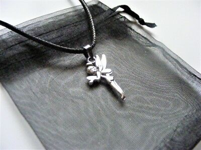 £3.50 • Buy Tibetan Silver Fairy Tinkerbell Charm Necklace & Gift Bag 18  Cord 2  Ext Chain
