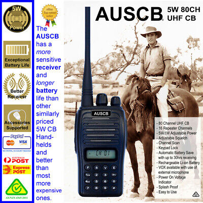 AU118.90 • Buy AUSCB 5W 80CH UHF CB Handheld - Approved To Australian Standards