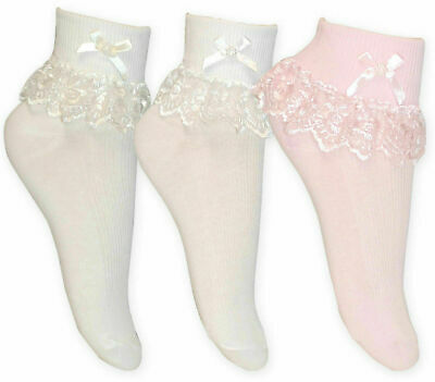 £3.10 • Buy 1 3 6 Pairs Girls Frilly Lace Ankle Wedding Occasion Socks Cotton Jester 000-4-6