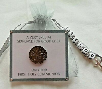 Personalised First Holy Communion Lucky Sixpence **keepsake Gift **3 Colours** • 3.75£