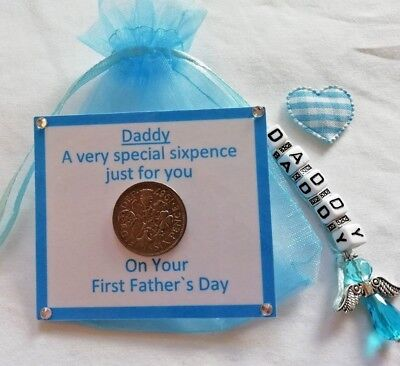 £3.55 • Buy DADDYS FIRST FATHERS DAY LUCKY SIXPENCE GIFT *with Fabric Heart*1st Fathers Day