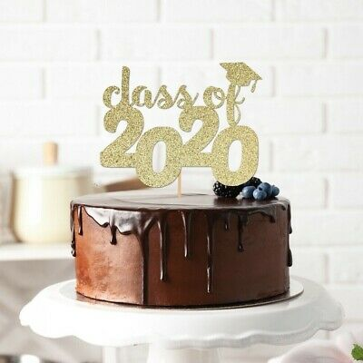 Graduation Cake Topper Cap Class Of 2020 High School Decoration Party Gold  • 7.19£