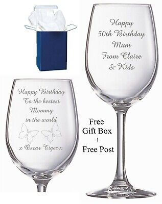 Personalised Engraved Wine Glass 18th 21st 30th 50th 60th Birthday Any Message • 8.99£