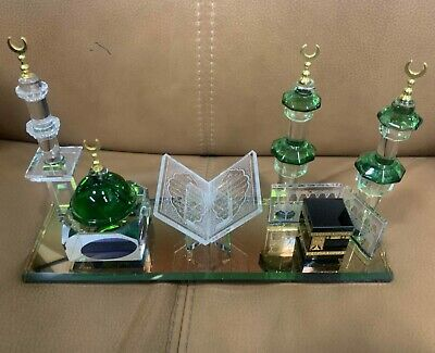 £24.99 • Buy Crystal Glass Makkah Mecca With Prophets Dome And Quran Islamic Ideal Gift