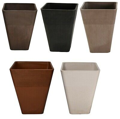 Large Strong Tall Planter Square Plastic Garden Flower Plant Herb Pot Colour New • 22.65£