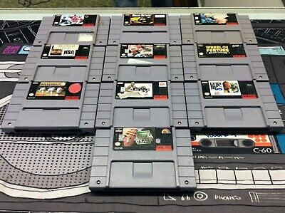 $ CDN61.22 • Buy Super Nintendo SNES Sports Game Lot Of 10 W/ Wheel Of Fortune! Tested! Works!