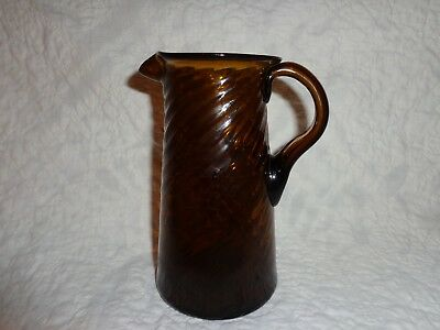 $34.95 • Buy Antique Amber Glass Hand Blown Swirl Form Creamer Pitcher