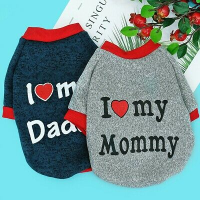 X Small Dog Sweaters Cat Clothes Pet Puppy Jumper Chihuahua I Love Mummy/Daddy • 4.95£