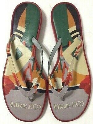 Icon Golf Summer Flip Flops Sandals Multi-Color Leather Slip On Womens Size 9M • 32.55£