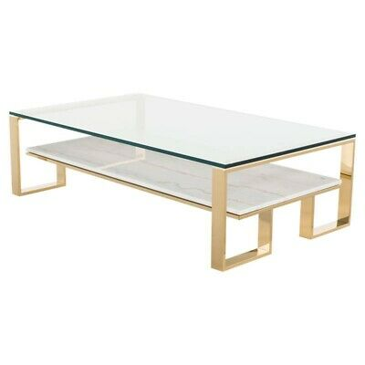 53  L Coffee Table White Veined Marble Shelf Glass Top Polished Stainless Steel • 2,017.17£