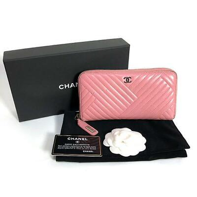 3feff75bdeea Chanel Pink Lambskin Leather V Stitch CoCo Wallet Coin Card Case Purse Used  Ex++ • 237.00