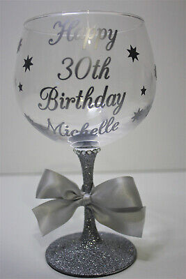 £9.99 • Buy Personalised Glitter Gin Cocktail Glass Birthday 18th 20th 21st 30th 20 Colours