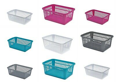 Plastic  Handy Storage Baskets Tidy Organiser 4 Colours 4 Sizes • 3.60£