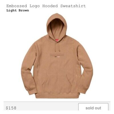 $ CDN276.96 • Buy Supreme Embossed Hoodie Light Brown Size Medium Ss18sold Out Box Logo