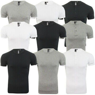 Mens Grandad T-Shirt Short Sleeve Ribbed Crew V Neck Gym Muscle Tee Soul Star • 9.99£