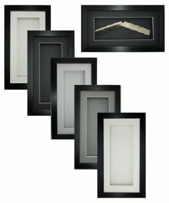 3D 10 X5  Black Picture Photo Box Frame 14mm/0.5  Deep Medal Gift Display  • 11.99£