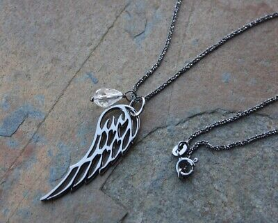 Dark Angel Wing Necklace- Oxidized Sterling Silver Chain, Birthstone Crystal • 44.86£
