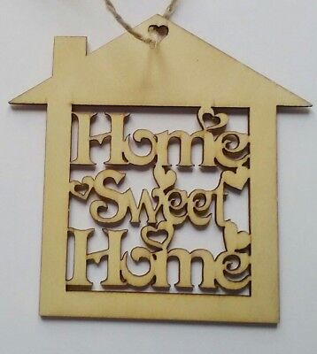 Home Sweet Home Hanging Hollow Plywood Wooden Plaques Shabby Chic Door Sign Love • 2.25£
