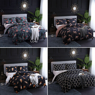 £38.48 • Buy Luxury Printed Duvet Cover Pillowcase Bedding Set Single Double King All Size