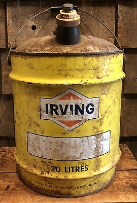 $ CDN167.81 • Buy Vintage IRVING Gas Service Station 5 Gallon 20 Liters Oil Can Canister
