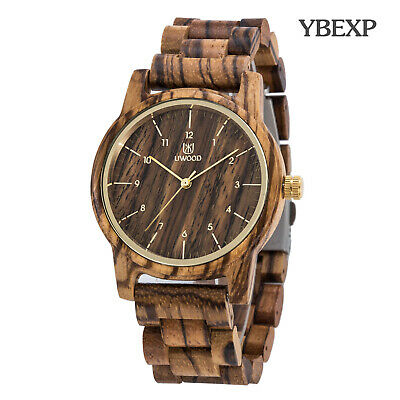 $ CDN29.98 • Buy UWOOD Mens Zebra Wooden Watch Natural Solid Wood Watch For Father's Day Gift