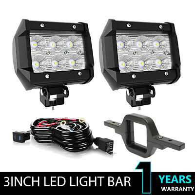 $ CDN29.99 • Buy 2X 3 Inch 18W LED Work Light Offroad Cube Pods Flood Lamp+Tow Hitch Bracket