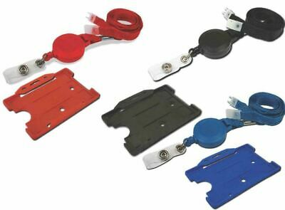 Retractable Neck Strap 10mm Lanyard With ID Card Badge Card Holder And YoYo Reel • 2.32£
