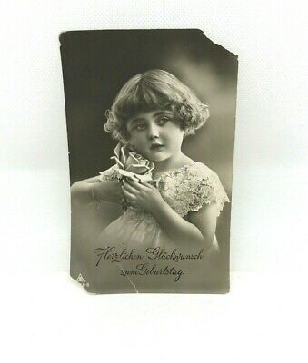 Vintage Photograph Small Girl Child Formal Dress Flower Germam Postcard Pagent • 5.10£
