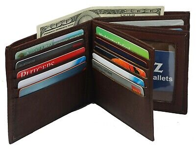$15.95 • Buy Genuine Leather Men's Bifold Wallet Hipster Credit Card New Brown Large