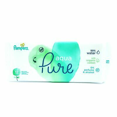 Pampers Organic Baby Wipes Aqua/Water Pure Travel Pack 12'S • 2.99£