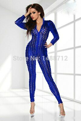 Sexy Stretch Silver Or Blue Wet PVC Look Jumpsuit Catsuit Bondage Valentines • 15.99£