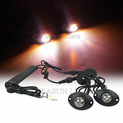 $37.79 • Buy 2in1 12 LED Hide Away Lights Surface Mount Vehicle Warning Strobe Amber White