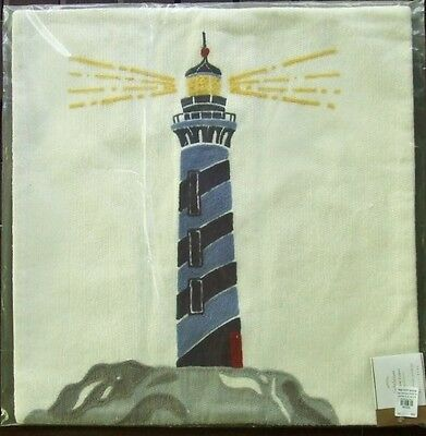 $31.99 • Buy Pottery Barn 20  Square Lighthouse Crewel Pillow Cover NWT Beach Ocean Nautical