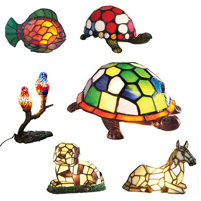 £49.95 • Buy Tiffany Animals Handcrafted Vintage Stained Glass Table / Desk / Kids Lamps