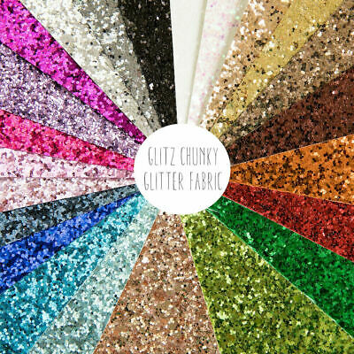 Glitz Chunky Glitter Fabric Sheet - A4 Size, Perfect For Sparkly Hair Bows • 3.90£