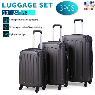 View Details 3 Piece Luggage Set Travel Trolley Suitcase ABS+PC Nested Spinner W/ Cover Gray • 75.99$