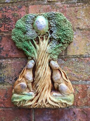 £34.95 • Buy Large Moongazing Hare Pagan Wall Plaque Wiccan Sculpture Garden Ornament