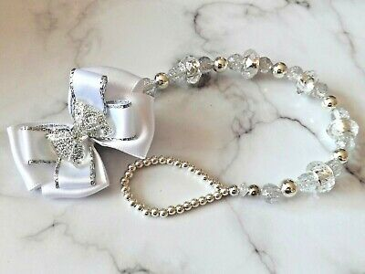 £12.90 • Buy Silver White Glitter Bow Crystal Bling Baby Romany Dummy Pacifier Clip Chain