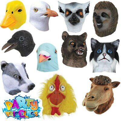 Adults Overhead Animal Mask Cosplay Full Head Fancy Dress Costume Accessory  • 10.99£